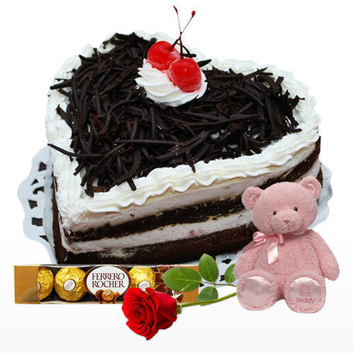Zesty Heart Shape Black Forest Cake with Red Rose, Teddy N Ferrero Rocher