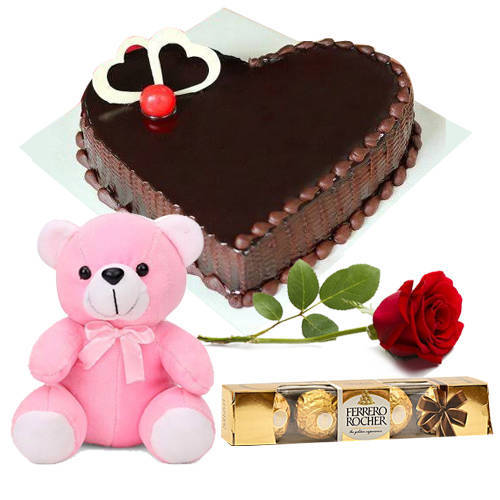 Dark Heart-Shape Chocolate Cake with Ferrero Rocher, Teddy N Single Rose