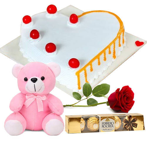 Rich Heart-Shape Vanilla Cake with Teddy, Red Rose N Ferrero Rocher Rich