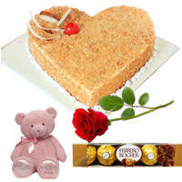Deliver Heart-Shape Butter Scotch Cake with Ferrero Rocher, Teddy N Single Rose