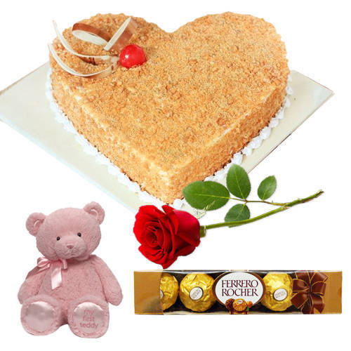 Small Pink Teddy with Butter Scotch Love Cake, Red Rose N Ferrero Rocher