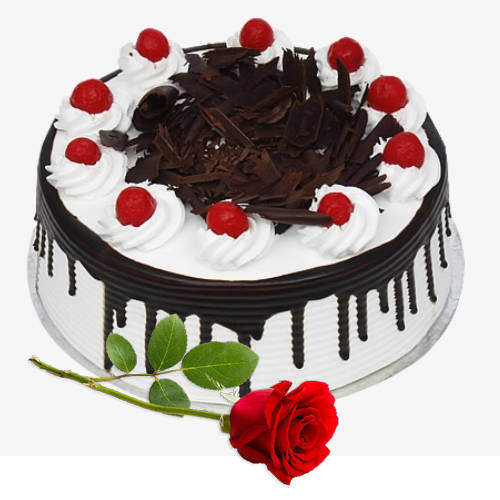 Cherry Black Forest Cake with Single Rose