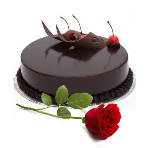 Freshly-Made Eggless Chocolate Cake with Red Rose