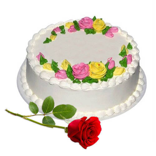 Award-Winning Eggless Vanilla Cake with Red Rose