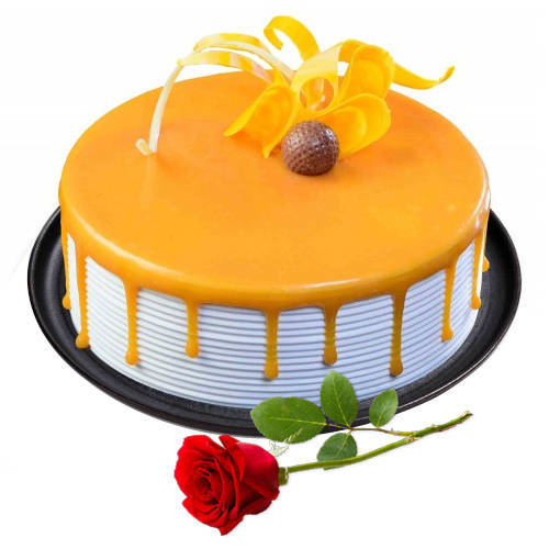 Mouthwatering Butter Scotch Cake with Red Rose