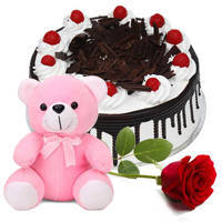 Online Combo of Eggless Black Forest Cake with Teddy N Single Rose