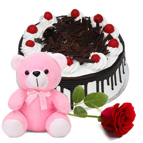 Lip-Smacking Black Forest Cake with Teddy N Red Rose