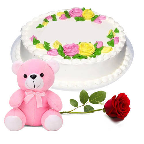 Extra Creamy Eggless Vanilla Cake with Teddy N Single Rose