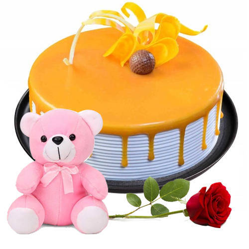 Lovers Delight Butter Scotch Cake with Teddy N Single Rose