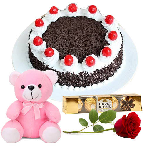 Love Combo of Eggless Black Forest with Ferrero Rocher, Red Rose N Teddy