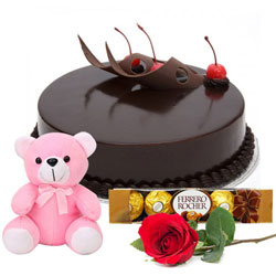 Top-Quality Chocolate Cake with Ferrero Rocher Teddy N Red Rose
