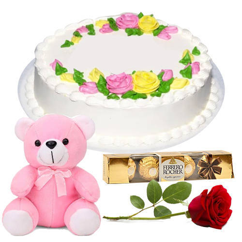 Toothsome Ferrero Rocher with Vanilla Cake, Single Rose N Teddy