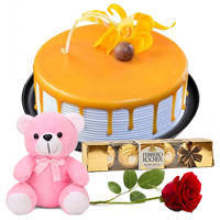 Book Online Eggless Butter Scotch Cake with Red Rose, Teddy N Ferrero Rocher