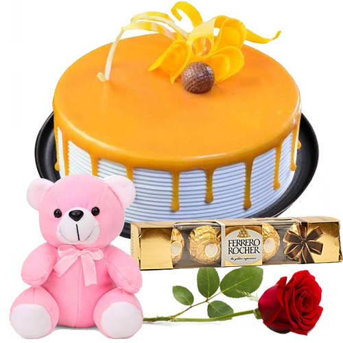 Melt-in-your-Mouth Ferrero Rocher with Butter Scotch Cake, Teddy N Red Rose