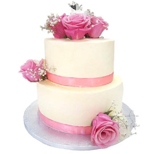 Rosy 2 Tier Wedding Cake