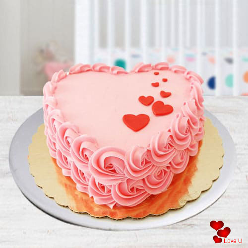 Delectable Heart Shape Strawberry Cake