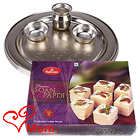 Irresistible Soan Papdi from Haldiram and 5-6 inch Puja Thali with Silver Plating