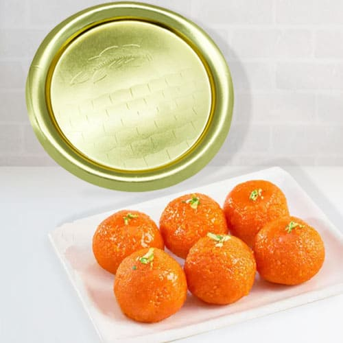 Gift of Haldirams Laddu with Gold Plated Thali