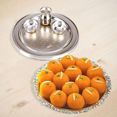Tempting Motichur Laddu with Silver Plated Thali
