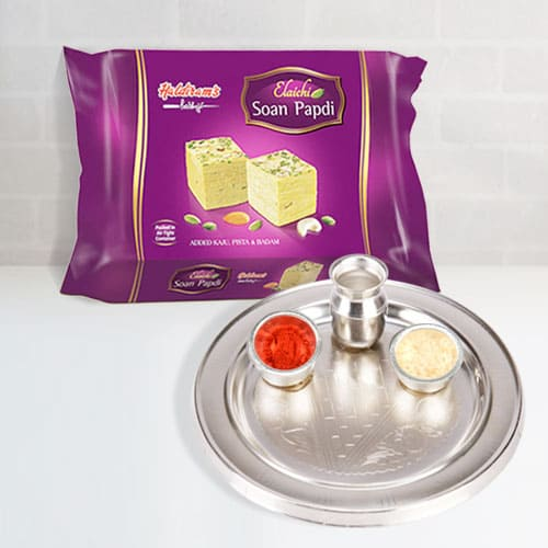 Enticing Soan Papdi with Silver Plated Puja Thali