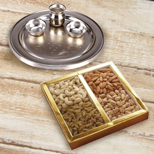 Mixed Dry Fruits Pack with Silver Plated Puja Thali
