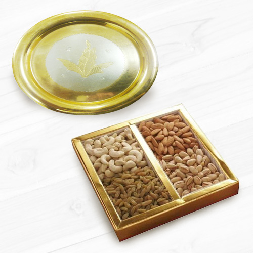 Assorted Dry Fruits N Gold Plated Thali