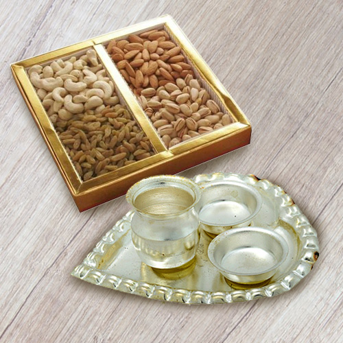Silver Plated Paan Shaped Aarti Thali with Dry Fruits