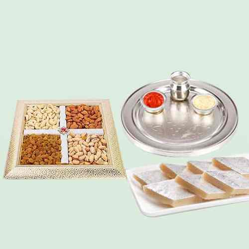 Mixed Dry Fruits with Thali N Kaju Katli