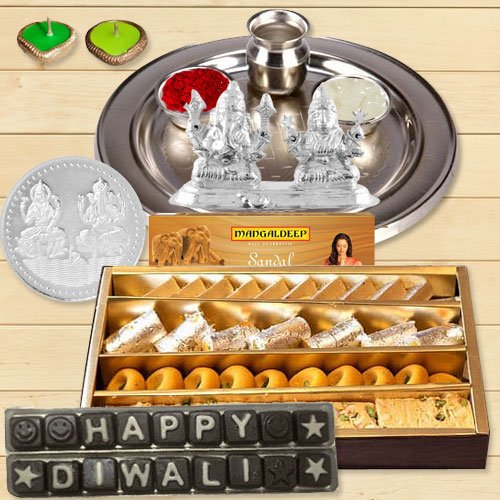 Silver Laxmi Puja Hamper with Assorted Sweets and Chocolate for Diwali