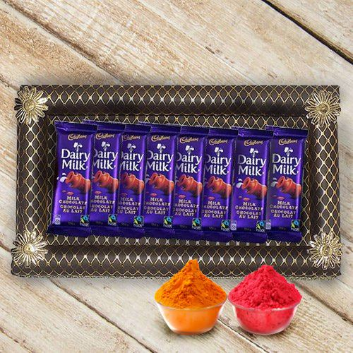 Treasured Arrangement of 8Pcs Cadbury Dairy Milk Chocolates