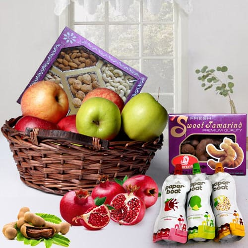 Nutritious Gift Basket of Fruits N More