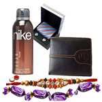 Ecstatic Combo of Gents Accessories with Free Rakhi and Roli Tilak Chawal