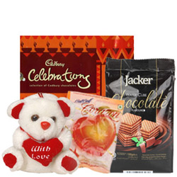 Delightful Combo Teddy with Mixed Chocos