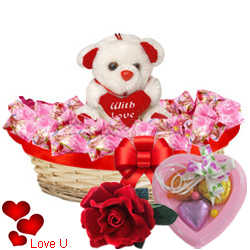 Amazing Collection of Chocolates and Teddy Bear with 1 Velvet Rose and 3 pcs Heart Homemade Chocolate