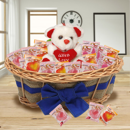 Delightful Basket of Corazon Chocolates with Teddy