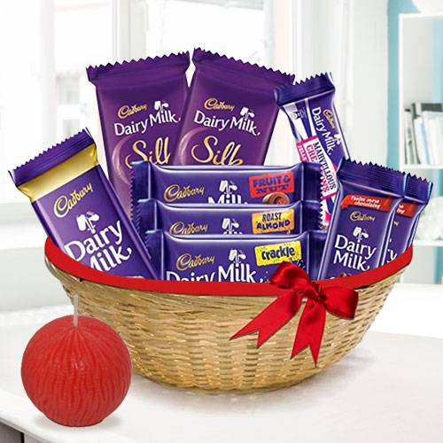 Lip-smacking Chocolate Basket with Tea Light Deepawali Combo
