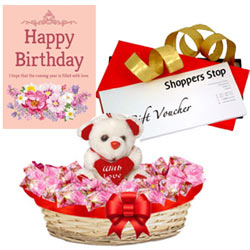 Wonderful Present of Gift Voucher worth Rs.1000 from Shoppers Stop, Cute Teddy, Corazon Chocolate Basket and Greetings Card