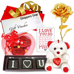 Remarkable Love You Gift of Shoppers Stop Voucher  N  Chocolates  N  Accessory