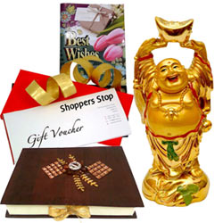Mind Blowing Hamper of Shoppers Stop Vouchers, Laughing Buddha, Homemade Chocolates  N  a Free Best Wishes Card