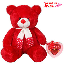Lovable Red Teddy Bear with Handmade Chocolates for Valentines Day