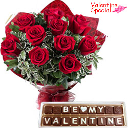 Ambrosial Gift of Red Roses Bunch N Be My Valentine Homemade Chocolates