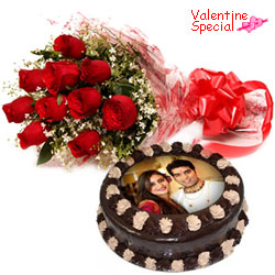 Exceptional Chocolate Photo Cake N Red Roses Bunch for V-day