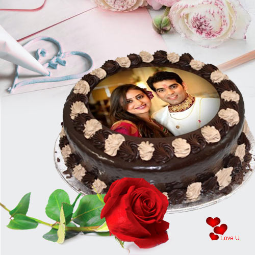Alluring Gift of Chocolate Photo Cake with Single Red Rose