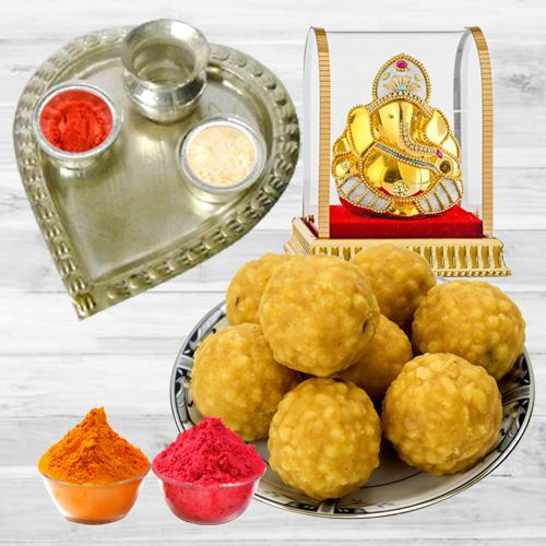 Delicious Boondi Ladoo With Puja Thali N Idol
