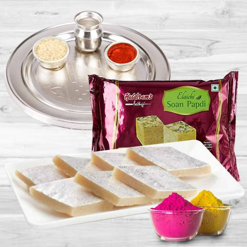 Holi Gift of Sweets, Puja Thali with Gulal