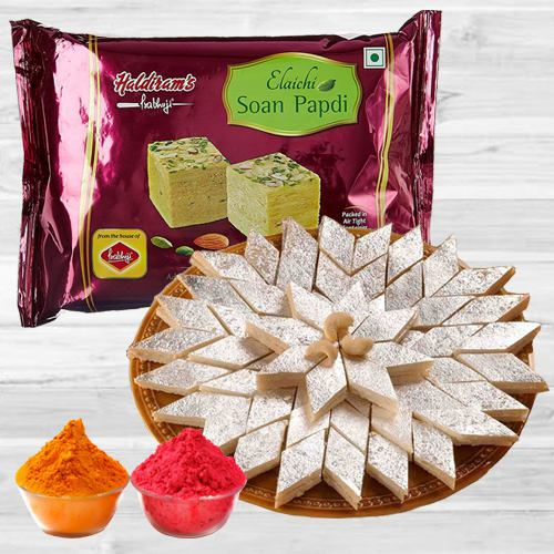 Holi Precious Gift of Haldiram Soan Papdi with Kaju Katli  N  Free Herbal Gulal