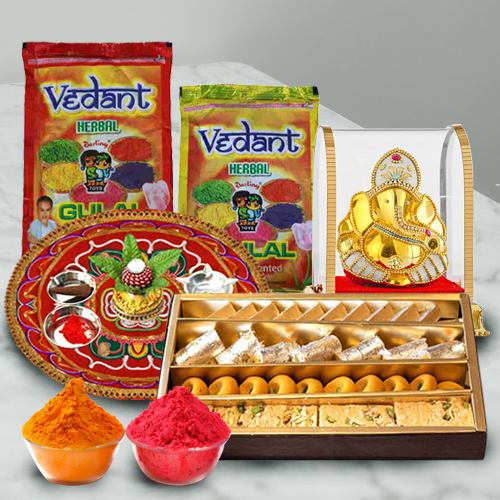 Tempting Assorted Sweets with Holi Herbal Gulal, Puja Thali N Ganesh Mandap