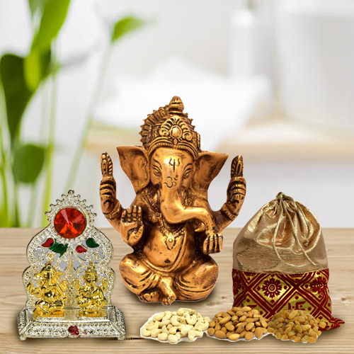 Designer Puja Mandap with Ganesh Idol and Mixed Dry Fruits Potli