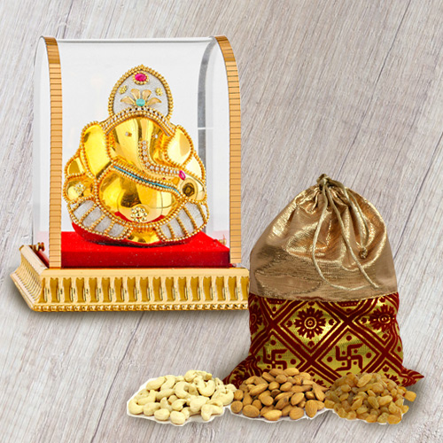 Enjoyable Pack of Dry Fruits with Divine Ganesh Idol