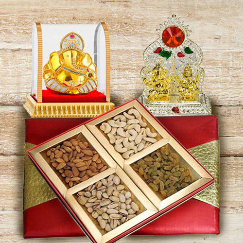 Divine Vighnesh Ganesh Murti with Mixed Nuts Dry Fruits Box and Mandap